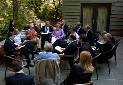 President Barack Obama meets with Eurozone leaders during the G8 Summit at Camp David