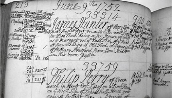 Figure 2: James Hunter's fire insurance policy, renewed in 1752 with the Hand-in-Hand Fire and Life Insurance Society. Image courtesy of London Metropolitan Archives, London.
