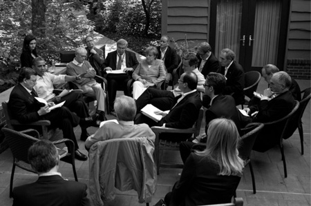 President Barack Obama meets with other government leaders during the G8 Summit at Camp David, May 19, 2012 (Photograph by Chief Official White House Photographer Pete Souza).