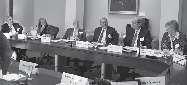 Mark Aronoff (Stony Brook University), Diane P. Wood (U.S. Court of Appeals, Seventh Circuit), Hunter R. Rawlings III (Association of American Universities), Jonathan F. Fanton (American Academy), Paul LeClerc (Columbia Global Centers, Europe), and Nancy McEldowney (Foreign Service Institute, U.S. Department of State)