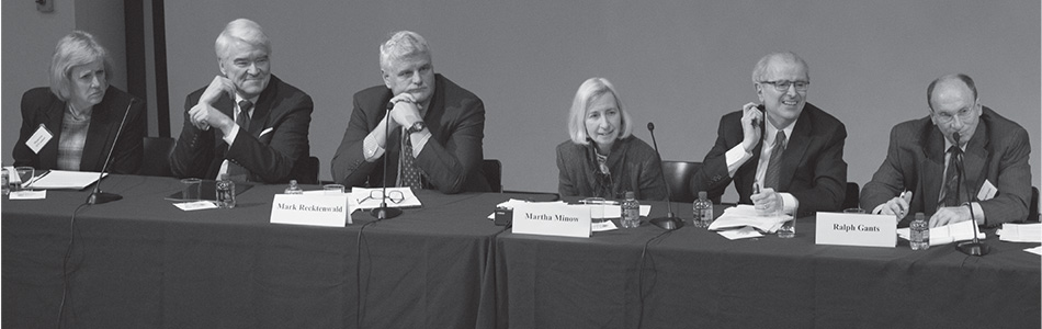 Left to Right: Maureen O'Connor (Chief Justice, Supreme Court of the State of Ohio), Nathan Hecht (Chief Justice, Texas Supreme Court), Mark Recktenwald (Chief Justice, Supreme Court of Hawaii), Martha Minow (Dean, Harvard Law School), Jonathan Lippman (former Chief Judge, State of New York), and Ralph Gants (Chief Justice, Massachusetts Supreme Judicial Court)