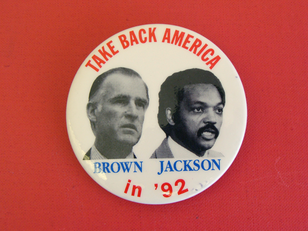 Image of political button of Jerry Brown and Jesse Jackson