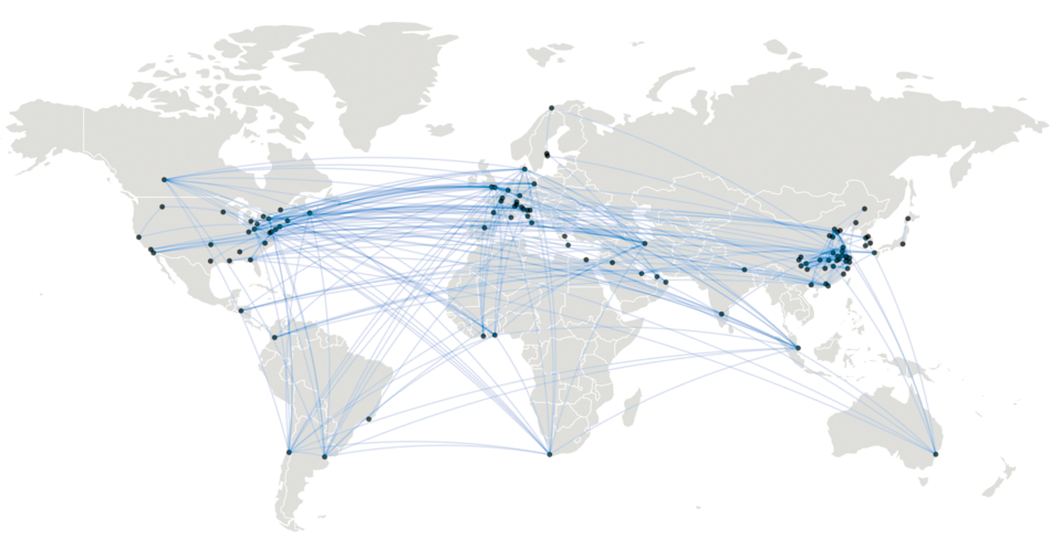 Figure 2: Map of International Collaborations on COVID-19 in Scientific Literature as of April 2020