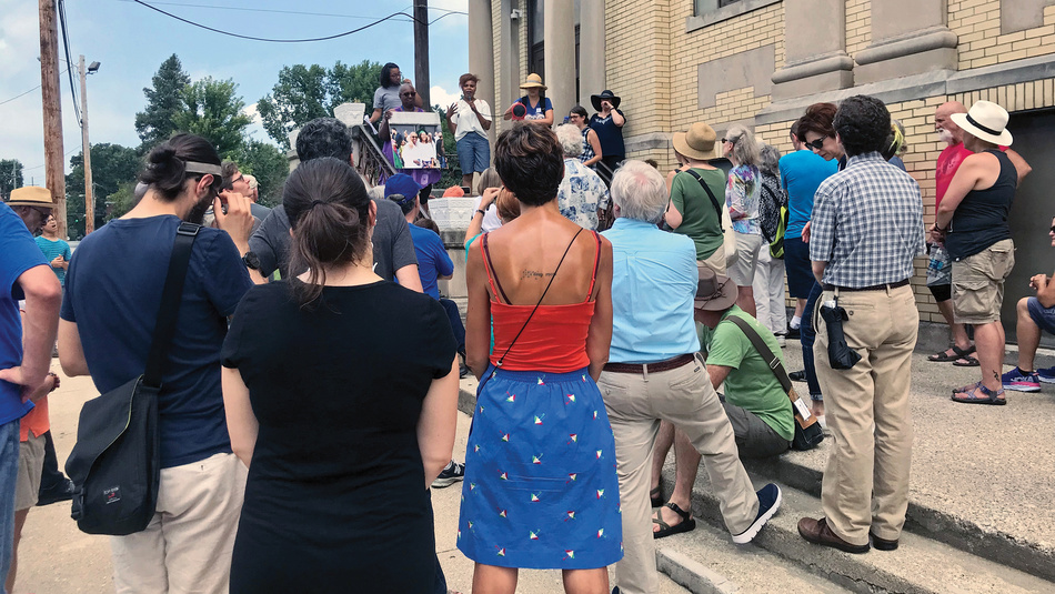 After the removal of two Confederate statues from the Cheapside town square in 2018, the Blue Grass Community Foundation, the Knight Foundation, and Take Back Cheapside organized (Re)Imagining Cheapside Public Storytelling walks to shed light on the full history of the community and promote discussion.
