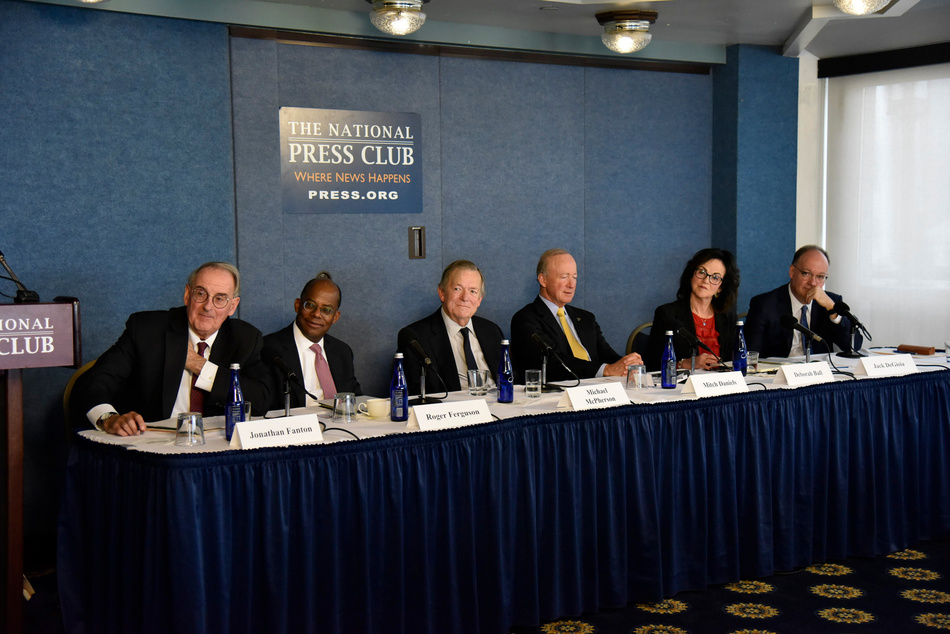 Members of the Commission on the Future of Undergraduate Education unveil the final report during a press conference in Washington, D.C.