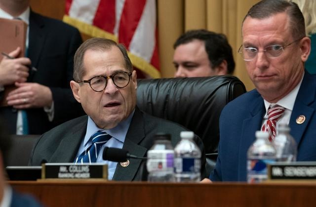 House Judiciary Committee Chairman Jerrold Nadler, D-N.Y., and Rep. Doug Collins, R-Georgia, right, the ranking member, listen to debate on amendments as the panel approved procedures for upcoming impeachment investigation hearings on President Donald Trump, on Capitol Hill in Washington, Thursday, Sept. 12, 2019.