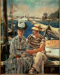 Elegant painting of a man and a woman conversing on a dock in the daytime