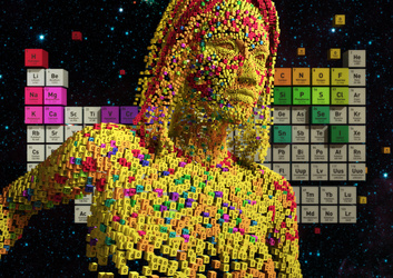 Woman composed of elements from the periodic table stands at attention in outer space