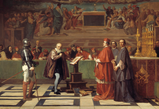Oil painting by Joseph-Nicolas Robert-Fleury of Galileo testifying before the Holy Office