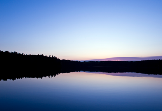 Photograph of sunset on Walden Pond