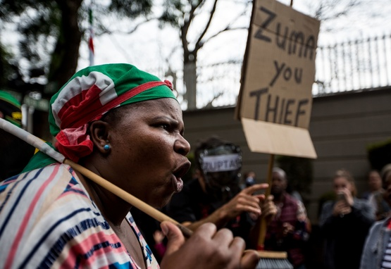 Woman protests South African president Jacob Zuma