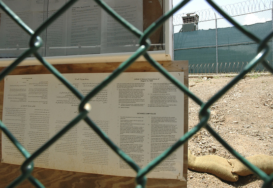 A bulletin board posting of the Geneva Convention at Guantanamo Bay