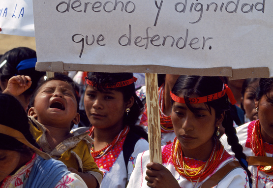 Photograph of indigenous women in Chiapas marching in support for the peace accord between Mexican government and the Zapatista movement