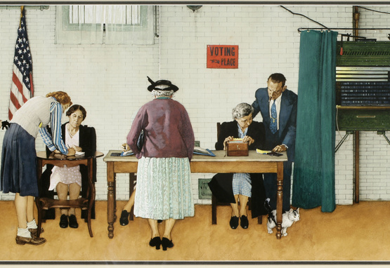 norman rockwell painting of voting booth polling