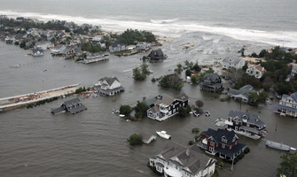 An aerial view of the damage caused by Hurricane Sandy to the New Jersey coast taken during a search and rescue mission.