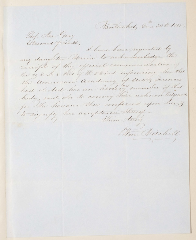Maria Mitchell Acceptance Letter, 1848
