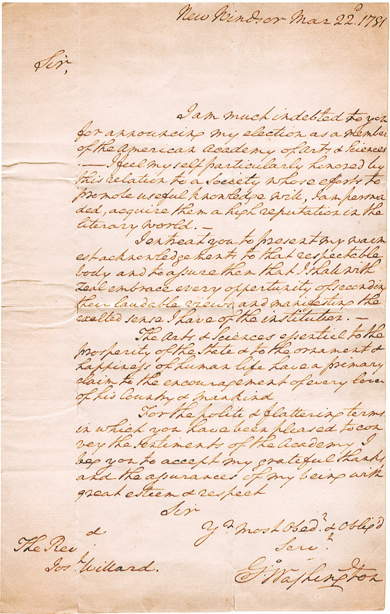 Acceptance letter from George Washington, 1781