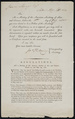 Letter of notification of election, John Pickering to James Savage, 23 February 1824