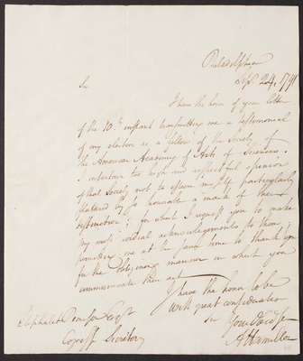 Acceptance letter from Alexander Hamilton, 1791