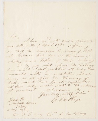Acceptance letter from Charles Babbage, 1832