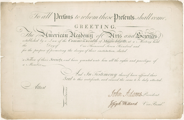 Academy Membership Certificate, signed by John Adams