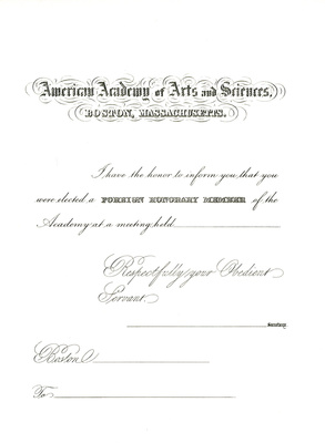Certificate for FHMS, ca. 1870