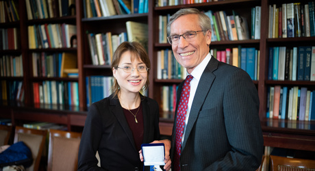 Jenny Bulstrode receives the 2018 Sarton Prize for History of Science, presented by Academy President David W. Oxtoby